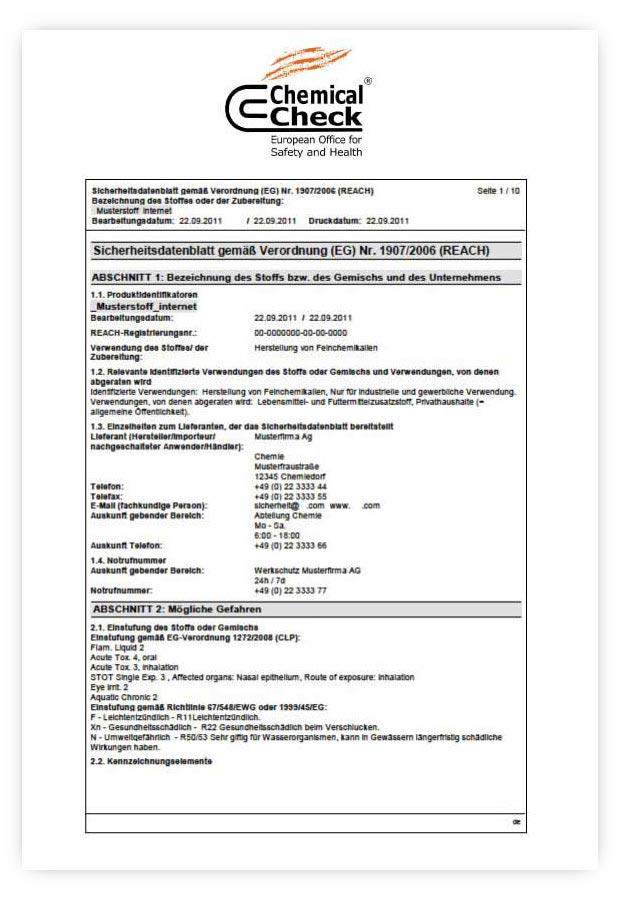 Sicherheitsdatenblätter von Chemical Check